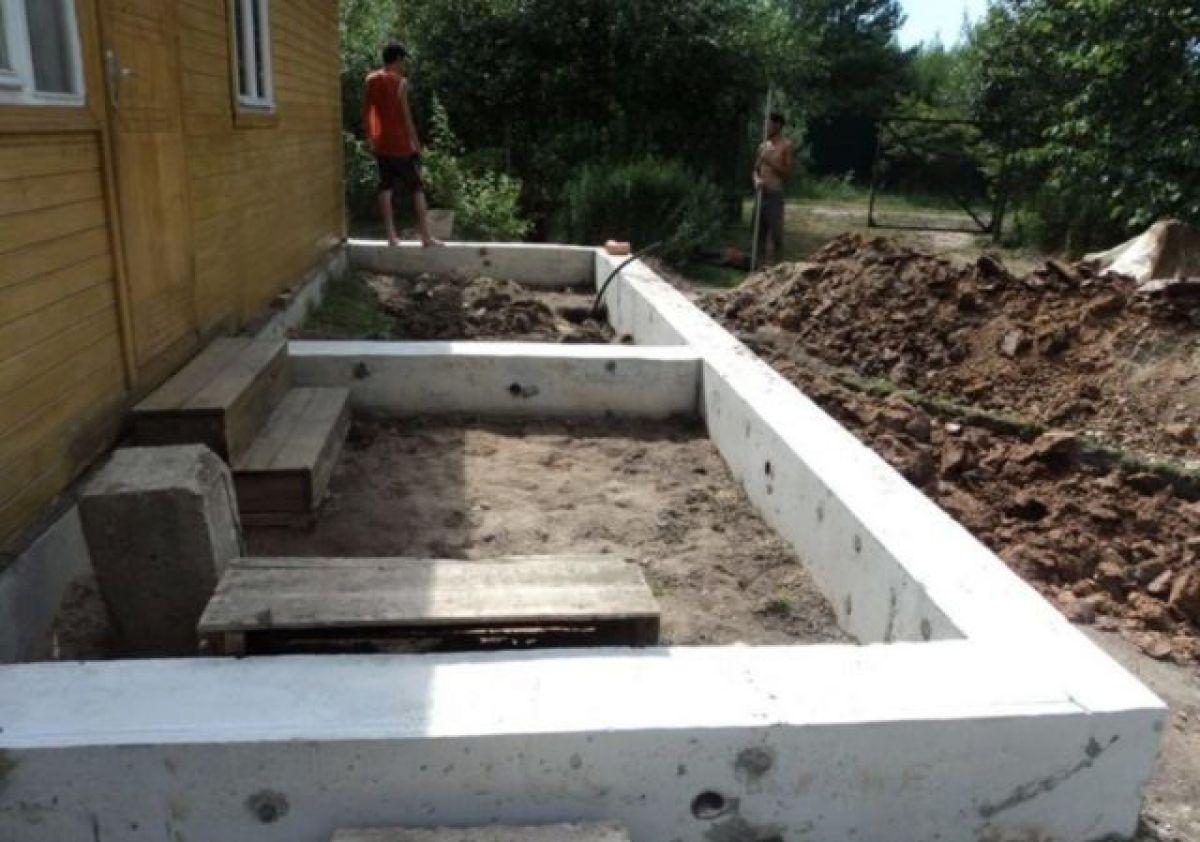 Фундамент для пристройки к дому 1631
