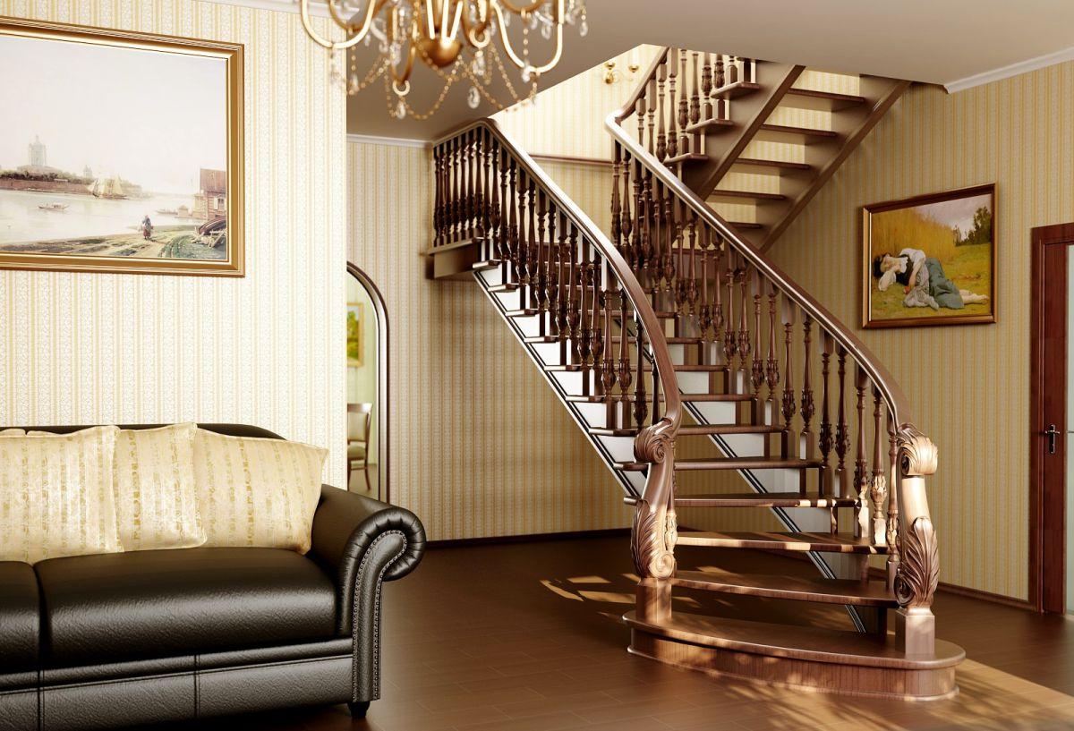 Лестница для коттеджа. Виды лестниц 2428