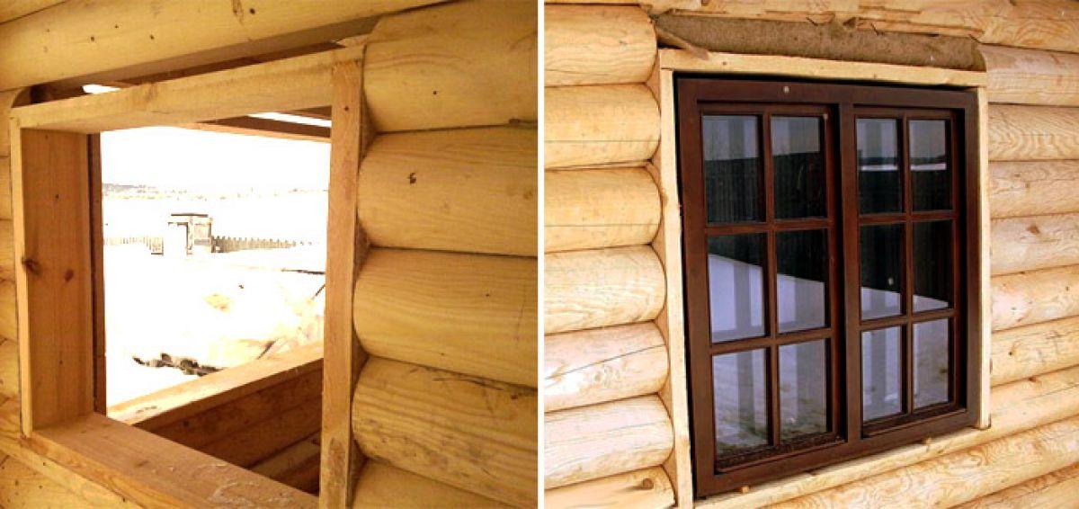 Окосячка для пластиковых окон в деревянном доме  726