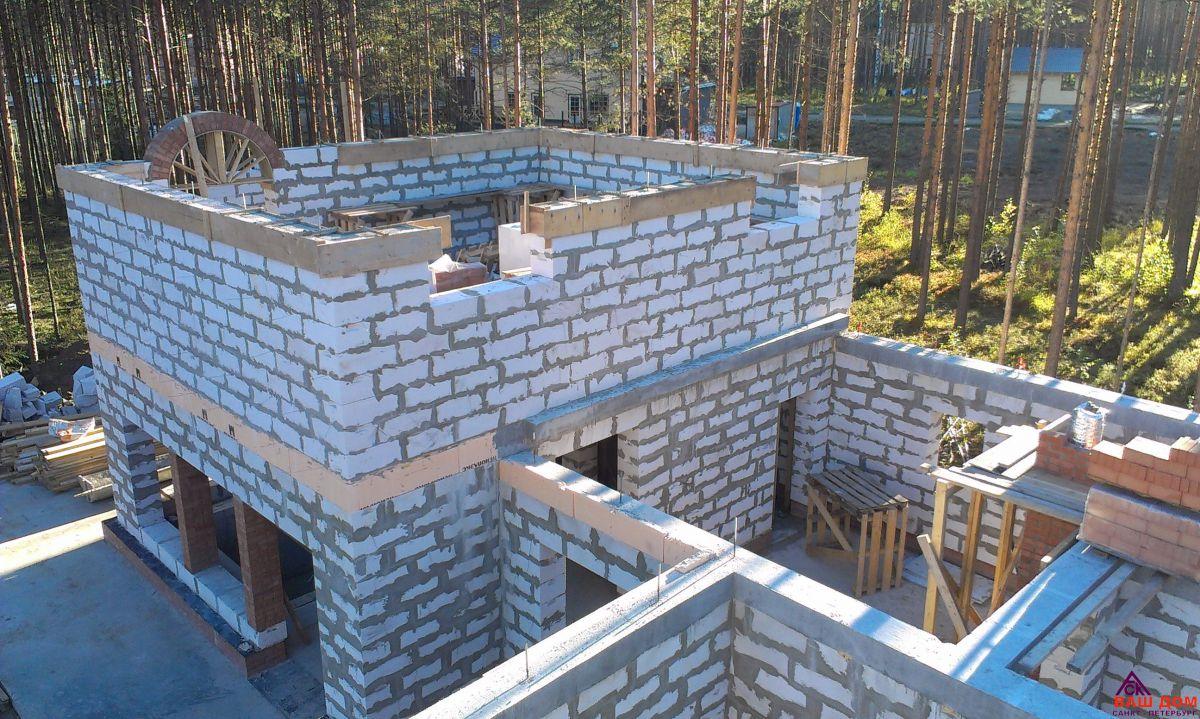 Фото пошагового строительства дома из газобетона