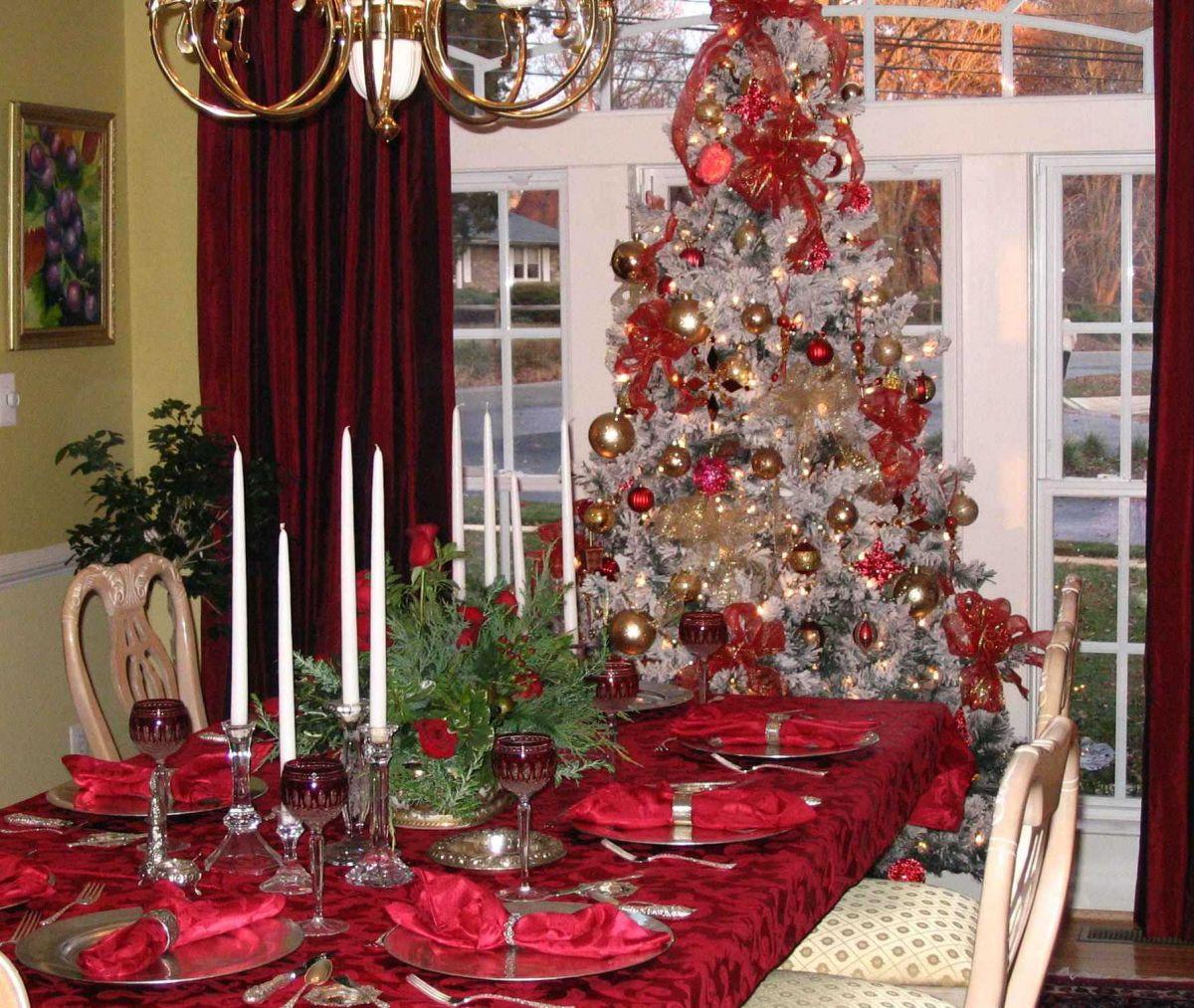 Интерьер с бордовым цветом - праздничный, торжественный, новогодний 4249
