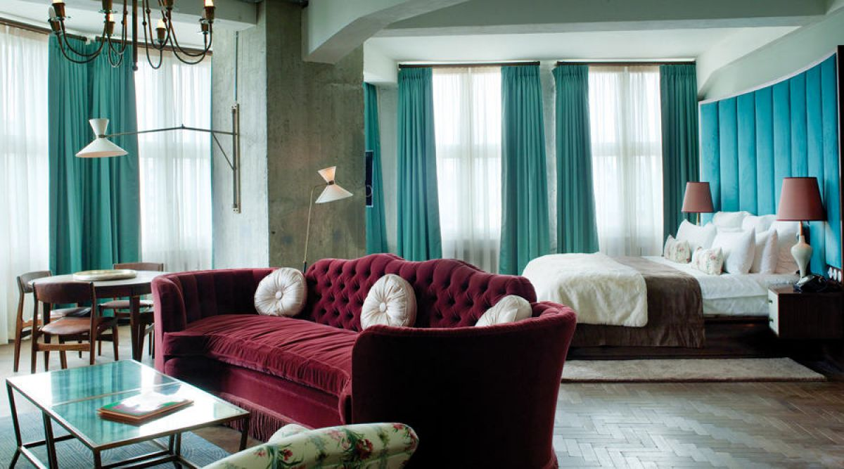 Интерьер с бордовым цветом - праздничный, торжественный, новогодний 4251