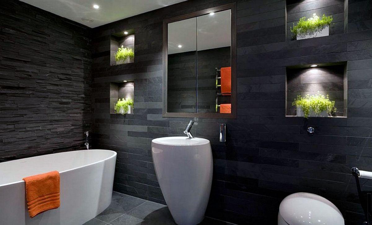 Белая ванная комната: дизайн с панно, кафелем и др 68