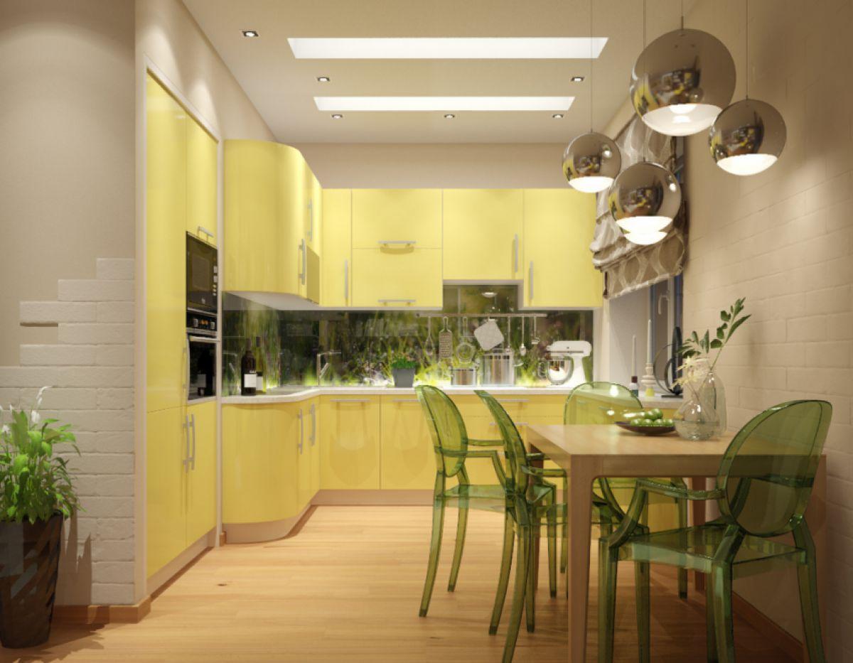 В интерьере - желтый цвет. Прихожая, ванная, гостиная, кухня в желтом 4514
