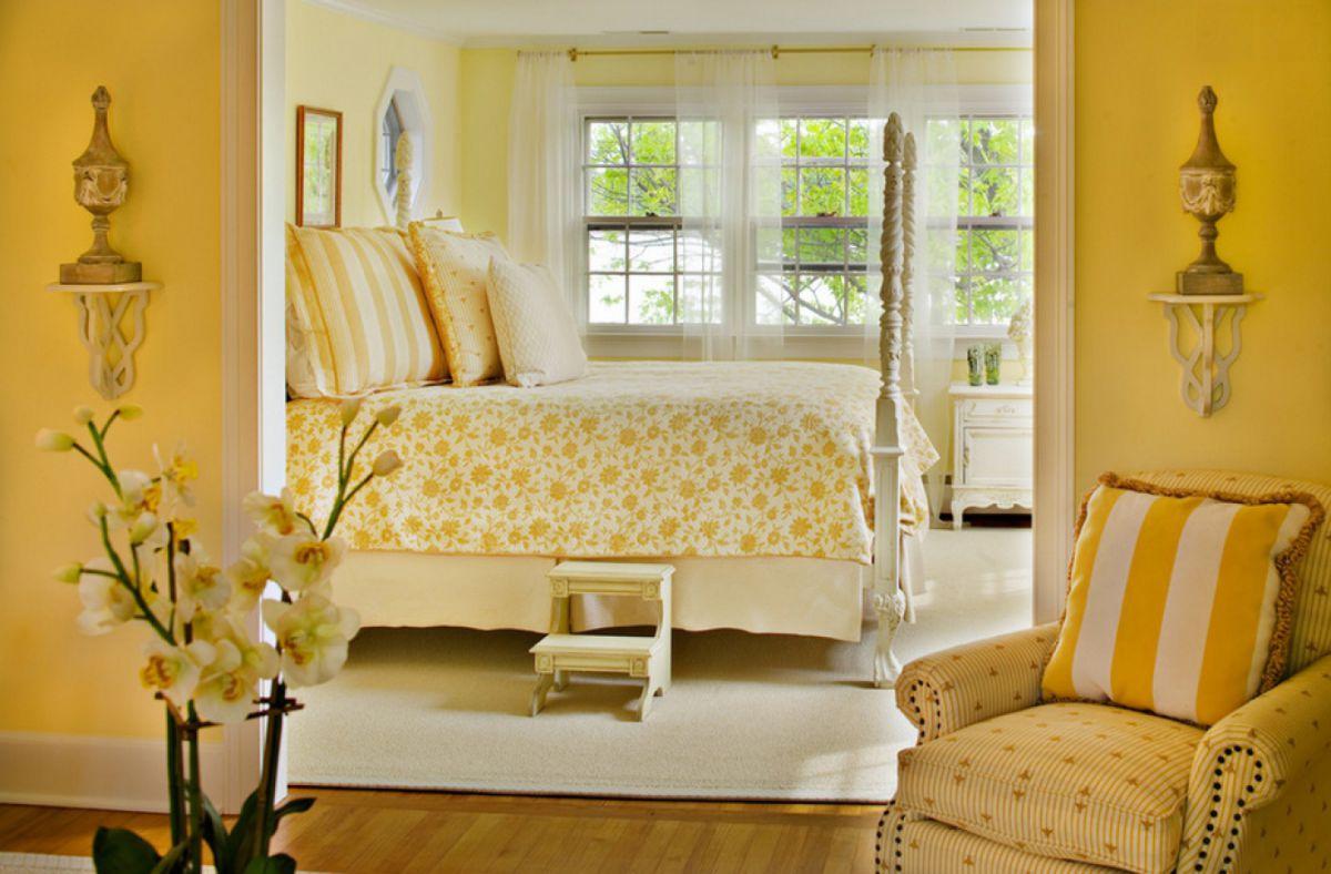 В интерьере - желтый цвет. Прихожая, ванная, гостиная, кухня в желтом 4515
