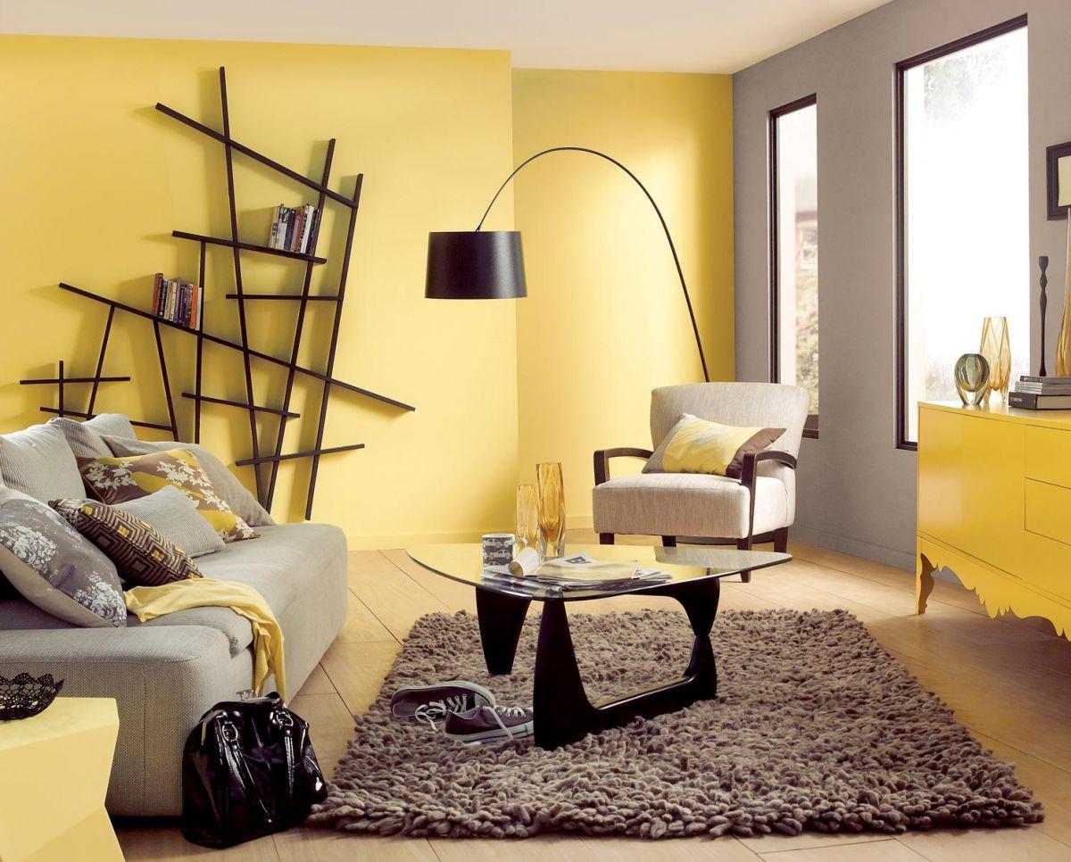 В интерьере - желтый цвет. Прихожая, ванная, гостиная, кухня в желтом 4516
