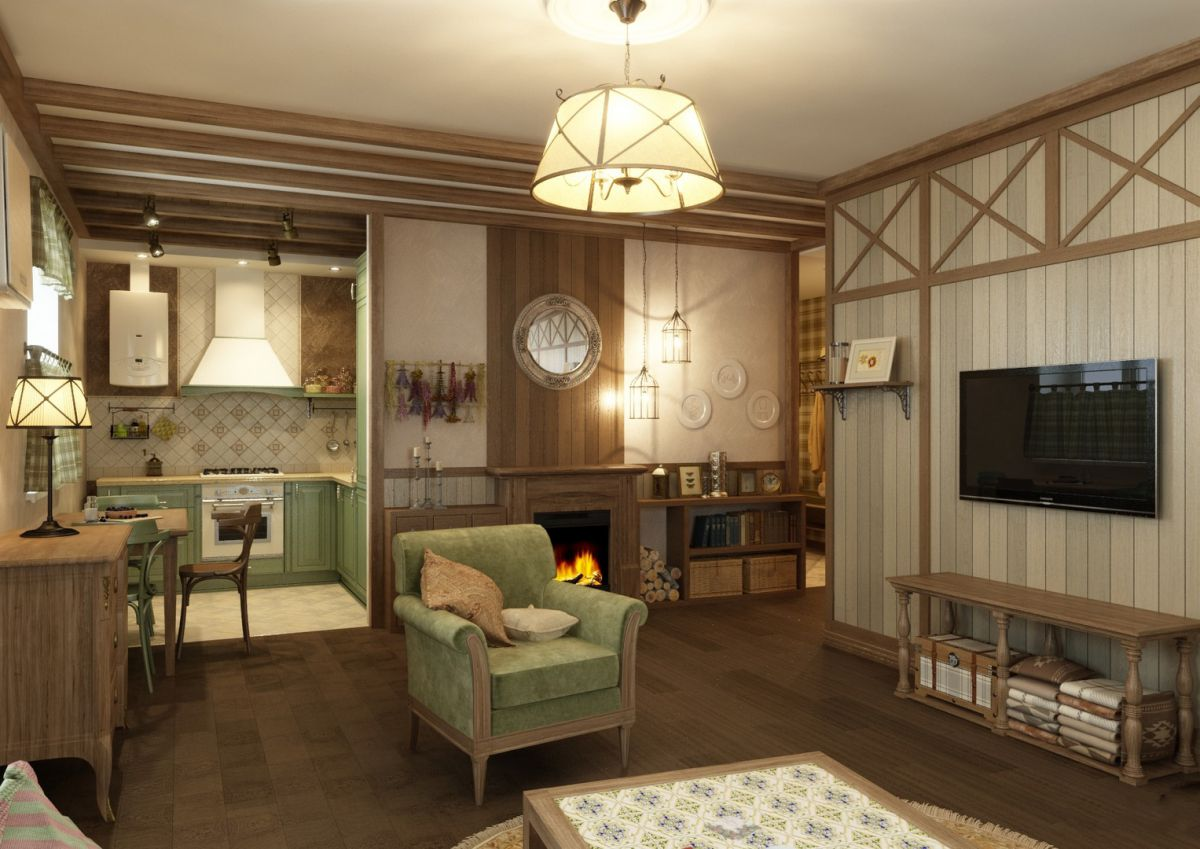 Дизайн в стиле кантри для загородного дома - романтика деревенского стиля и комфорт  4846