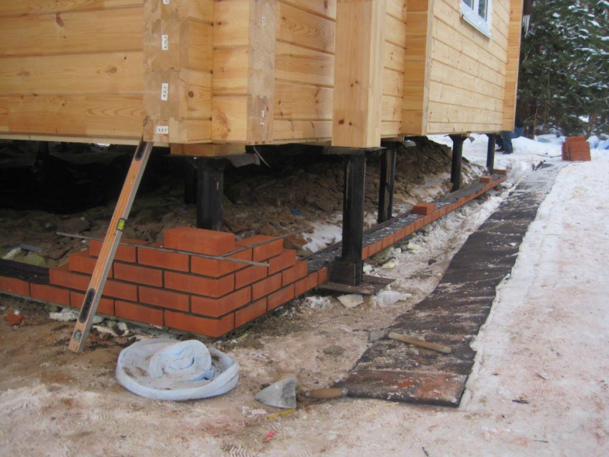 Конструкция столбчатого фундамента  каркасного дома 5715