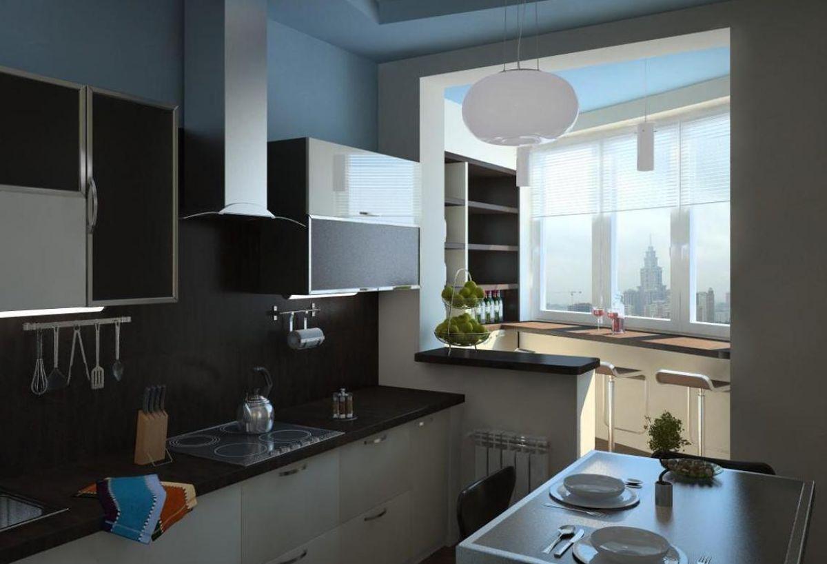 Объединение кухни с балконом 5993