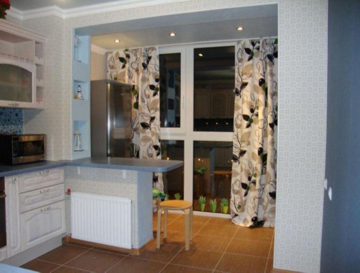 Объединение кухни с балконом 5996
