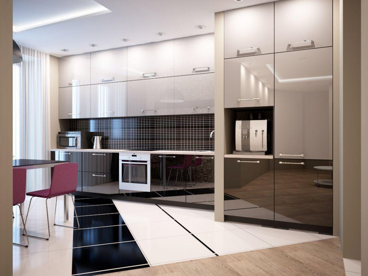 Черно-белая кухня 7041