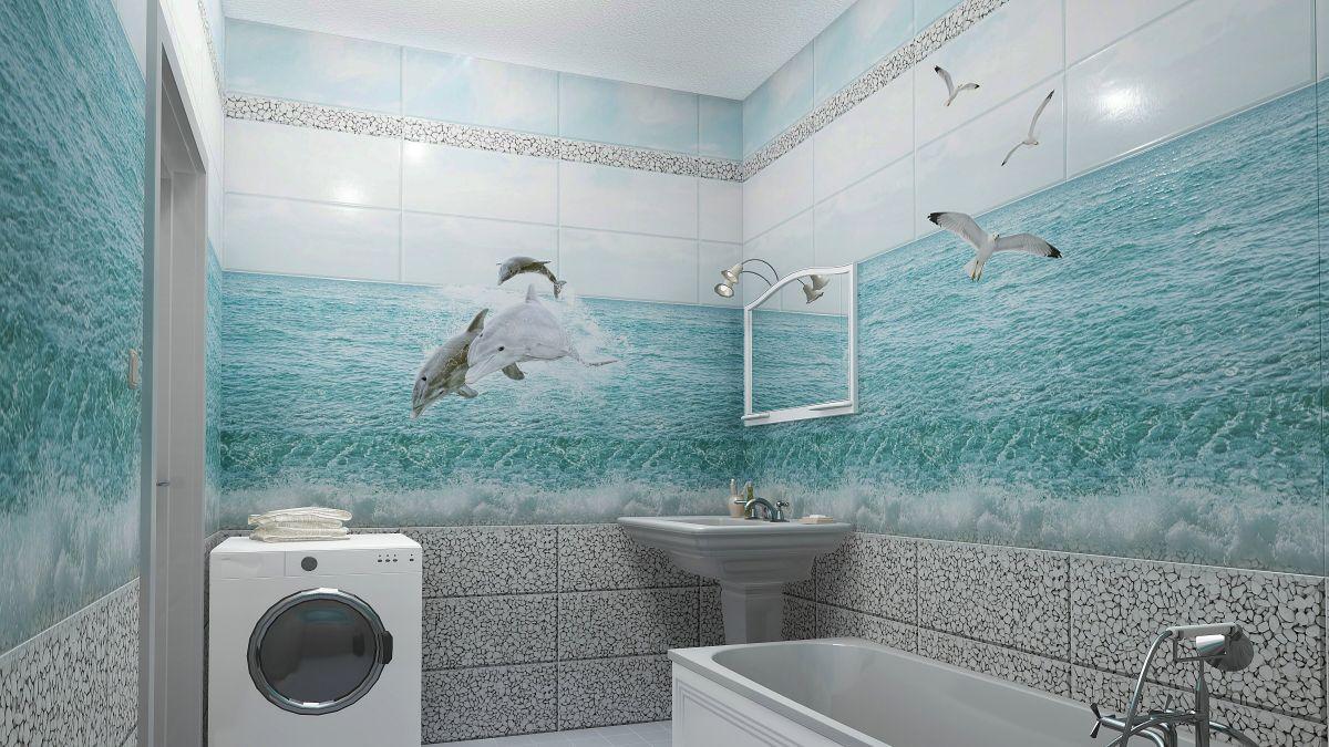 Отделка ванной пластиковыми панелями 7287