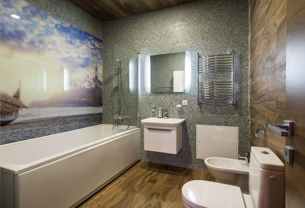 Отделка ванной пластиковыми панелями 7289