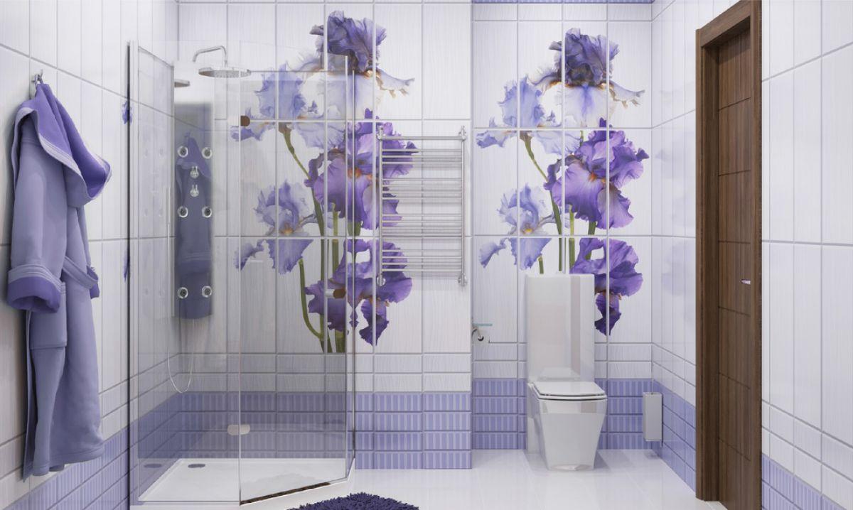 Отделка ванной пластиковыми панелями 7293