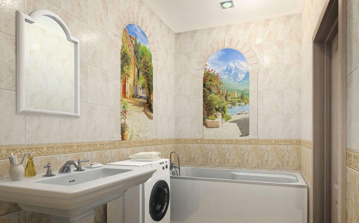 Отделка ванной пластиковыми панелями 7296
