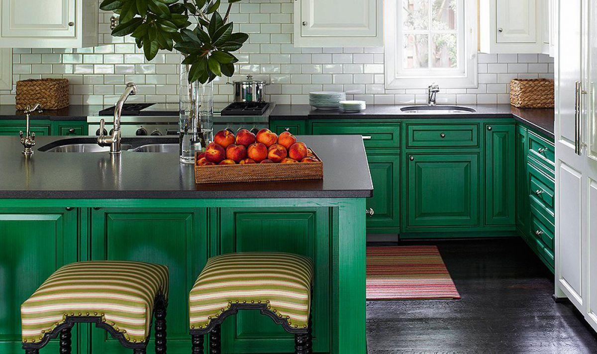 Дизайн зеленой кухни 7766