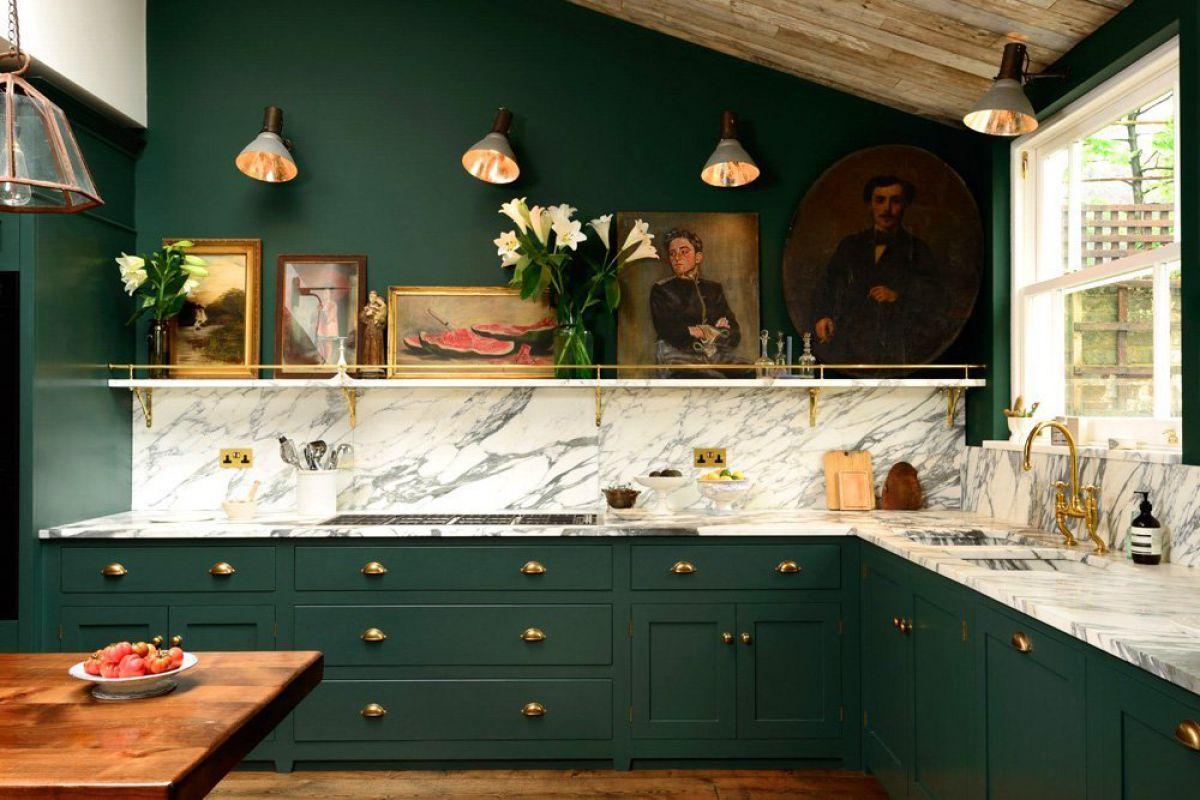 Дизайн зеленой кухни 7767