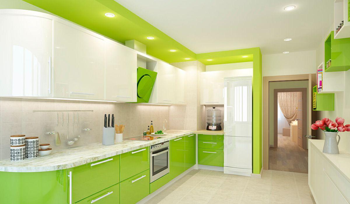 Дизайн зеленой кухни 7768