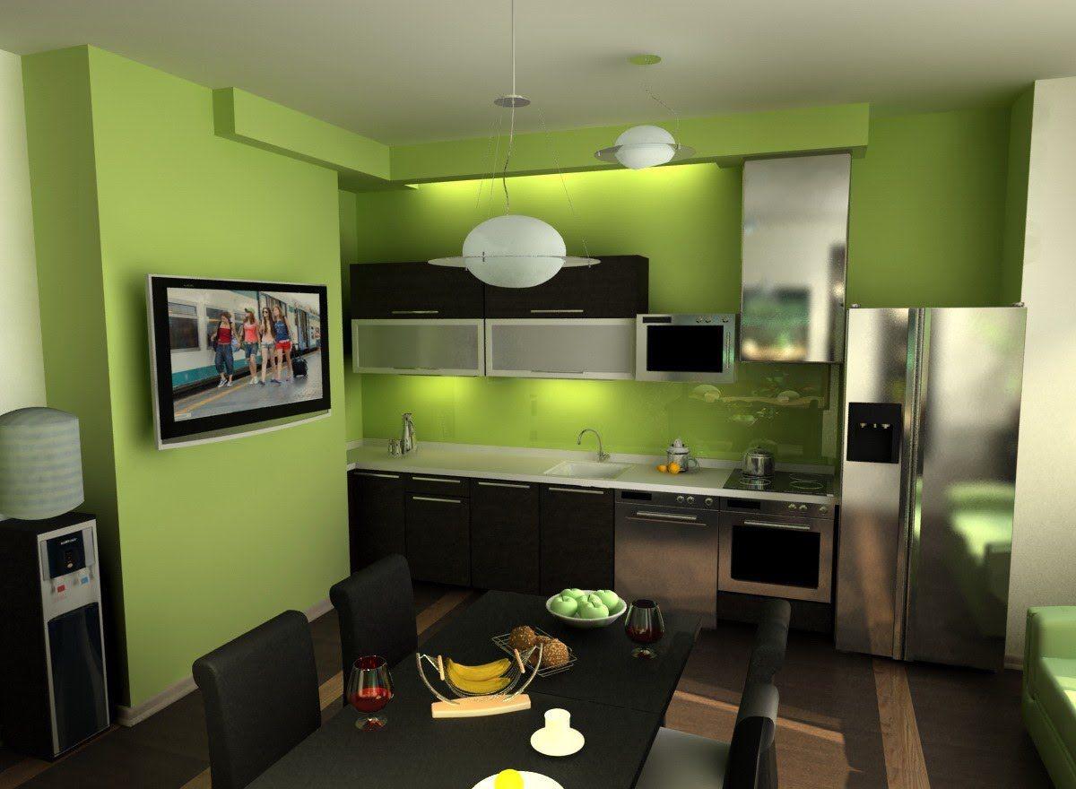 Дизайн зеленой кухни 7769