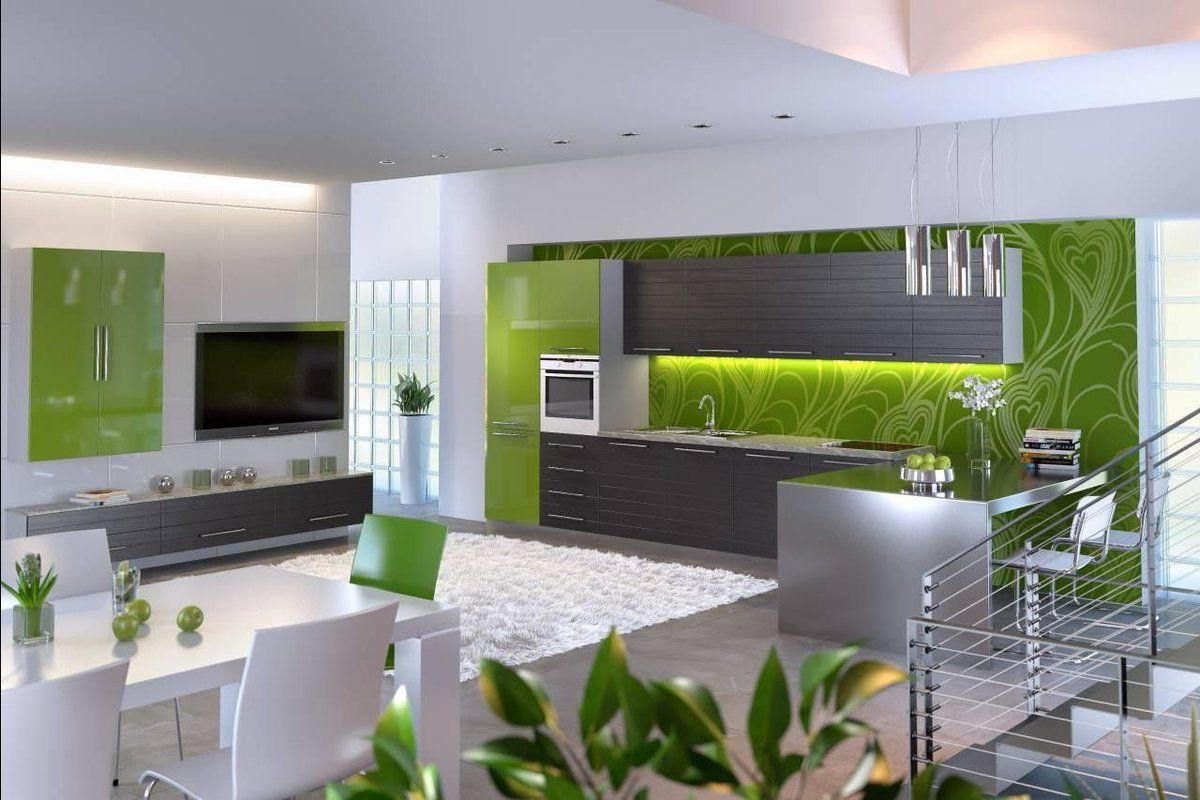 Дизайн зеленой кухни 7770