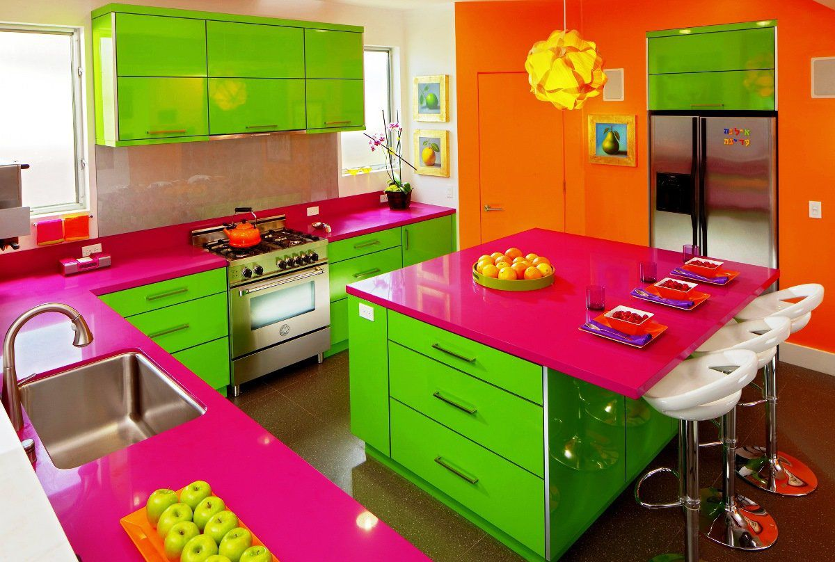 Дизайн зеленой кухни 7771