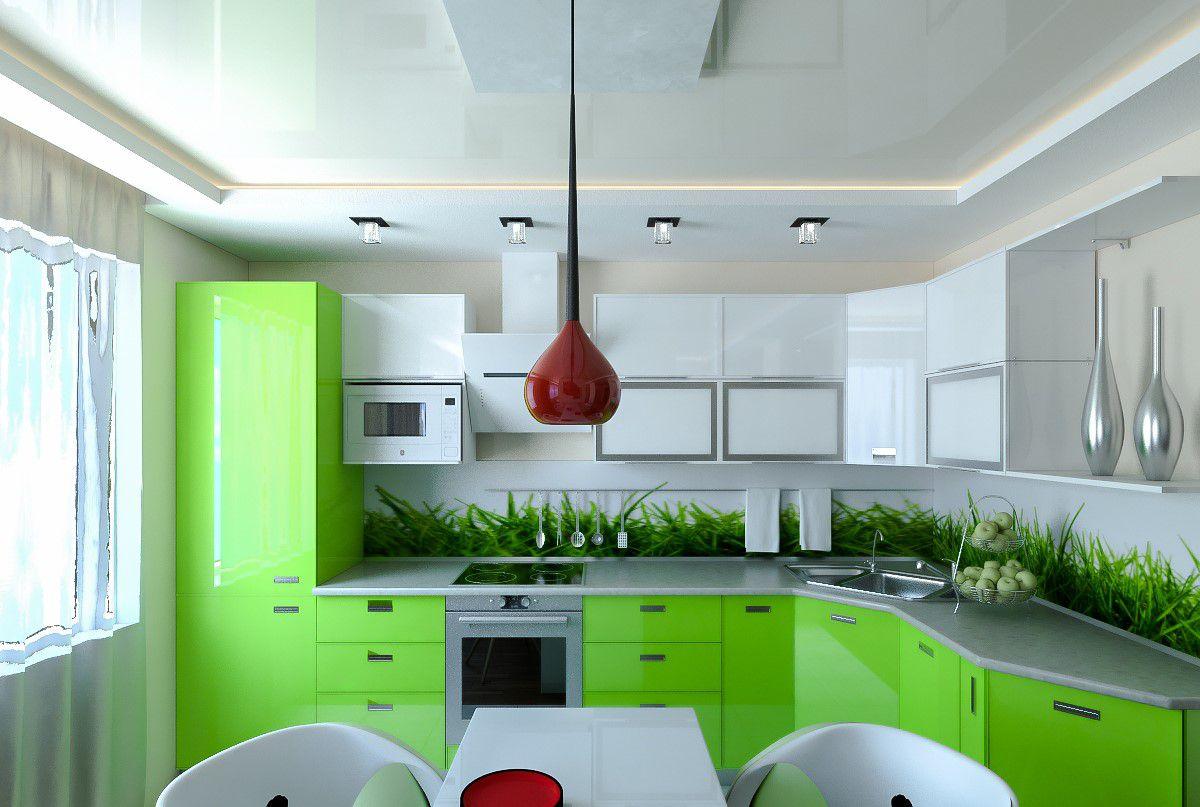 Дизайн зеленой кухни 7772