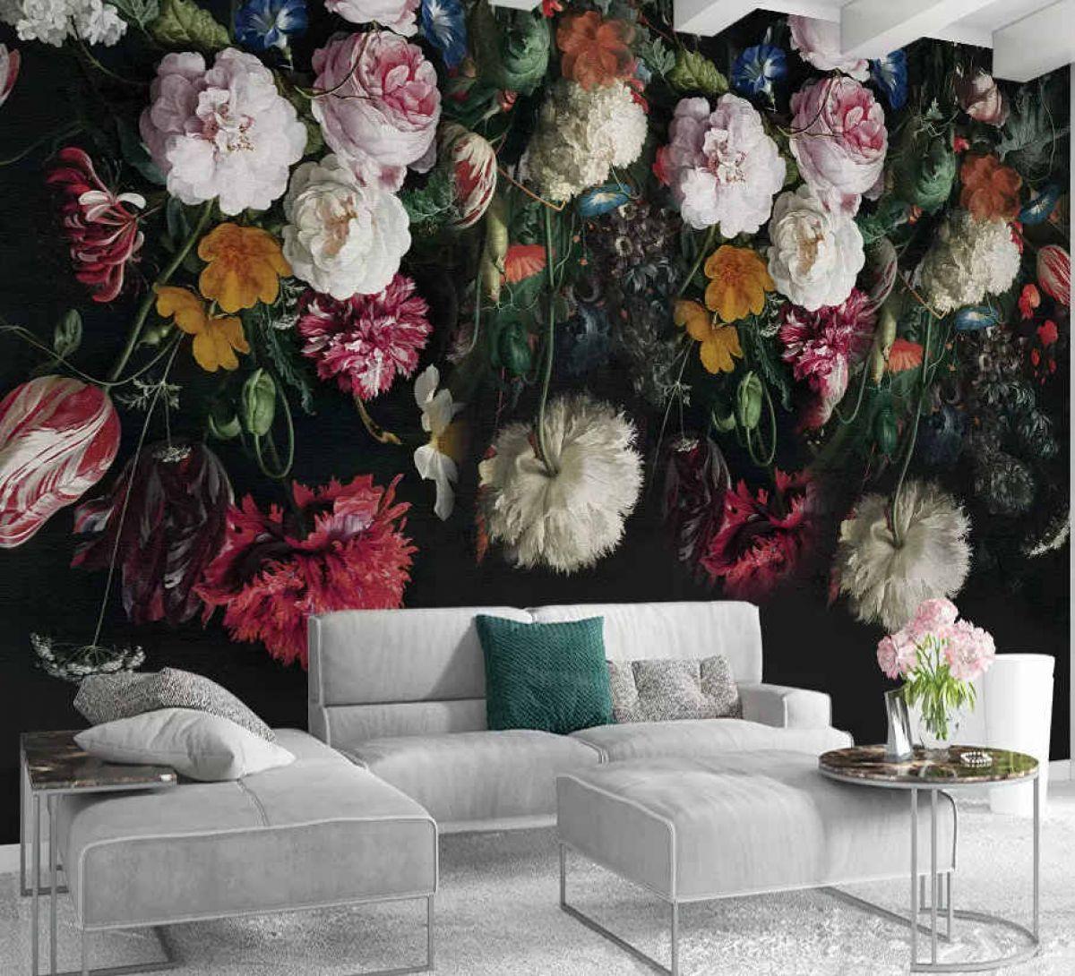 Обои цветы на черном фоне в интерьере