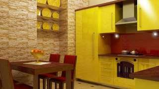 В интерьере - желтый цвет. Прихожая, ванная, гостиная, кухня в желтом