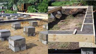 Конструкция столбчатого фундамента  каркасного дома